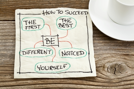 self development: how to succeed concept on a napkin - be the first, the best, different, yourself, noticed