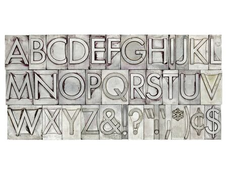 type: English alphabet, dollar, cent and punctuation signs in vintage metal type