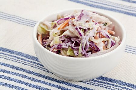 bowl of coleslaw salad - side dish on a tablecloth Stock Photo - 14414135