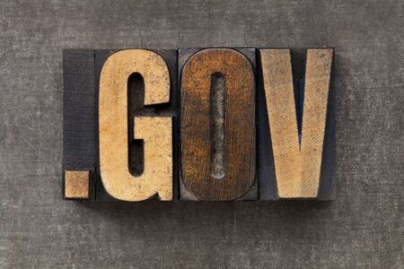 gov: dot gov - internet domain for government  in vintage wooden letterpress printing blocks on a grunge metal sheet
