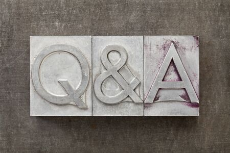 Q&A - questions and answers acronym - text in vintage letterpress metal type Stock Photo - 14414137