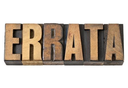 errata woord - geïsoleerde tekst in vintage boekdruk hout type