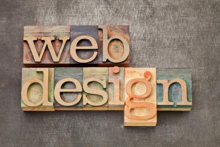 web: web design - text in vintage letterpress printing blocks against a grunge metal sheet Stock Photo
