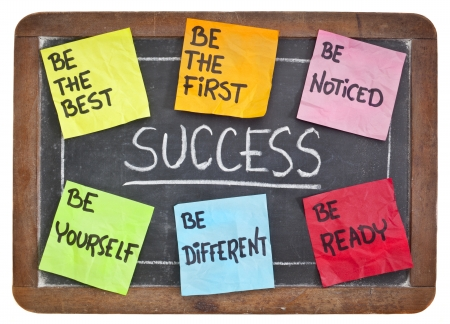 self development: how to successful concept on a blackboard - be the first, the best, different, yourself, noticed, ready Stock Photo