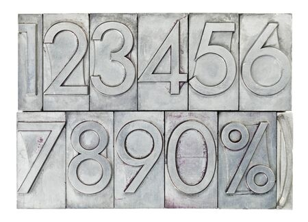 numbers from zero to nine and percent symbol  in vintage metal type isolated on white Stock Photo - 14577585