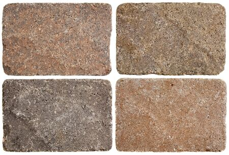 stepping: texture of four terracofta stepping stones or pavement bricks isolated on white