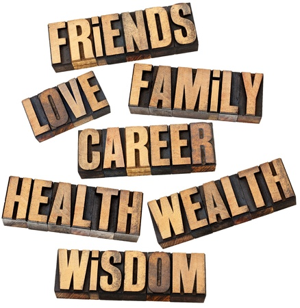 word collage: career, family, wealth, love, friends, health, wisdom  - list of popular life values  - a collage of isolated words in vintage letterpress wood type