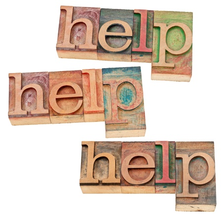 help concept - three isolated words in vintage letterpress wood type Stock Photo - 14780613