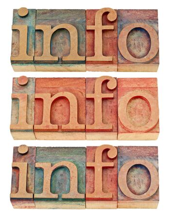info - isolated word in vintage letterpress wood type, three versions Stock Photo - 14780617