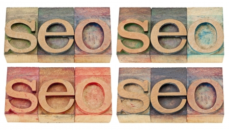 seo abstract (search engine optimization) - isolated text in vintage letterpress wood type, four versions photo