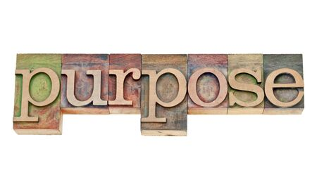 purpose - isolated text in vintage letterpress wood type stained by color inks Stock Photo - 15195914