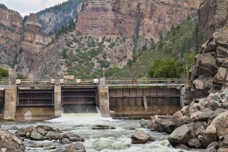 Shoshonee Dam on Colorado RIver in Glenwood Canyon diverting water for the oldest hydroelectric plant in Colorado