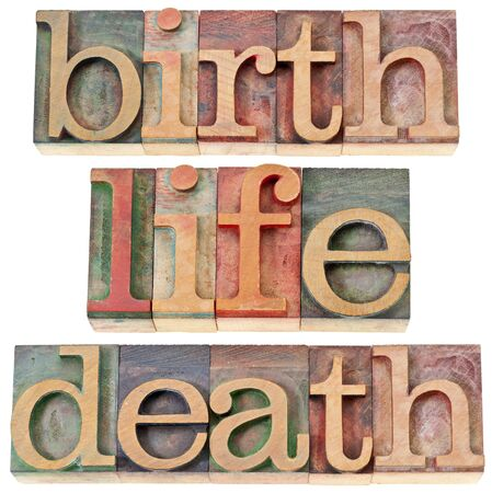 birth, life, and death - isolated words in vintage letterpress wood type stained by color inks Stock Photo