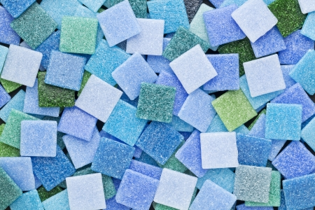 random background of blue and green square glass mosaic tiles Stock Photo - 14992322