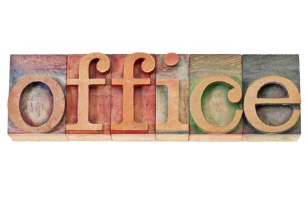 office -  isolated word in vintage letterpress wood type stained by color inks Stock Photo - 15031364