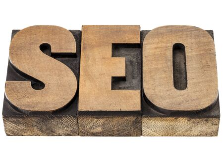 SEO (search engine optimization) acronym - isolated word in vintage leterpress wood type Stock Photo - 15488386
