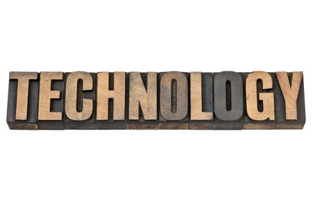 technology - isolated word in vintage letterpress wood type