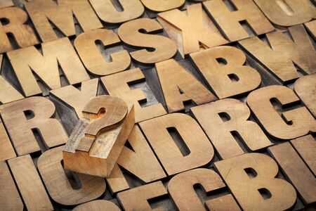 question mark and alphabet in vintage letterpress wood type Stock Photo - 15488393