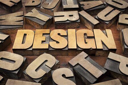 design concept in vintage letterpress wood printing blocks Stock Photo - 15148357