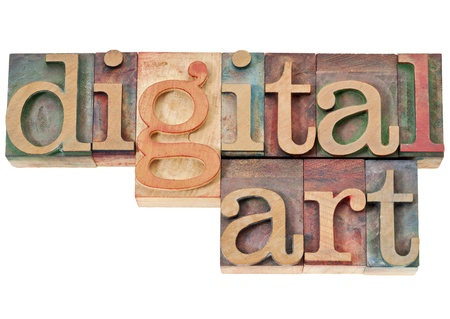 digital art - isolated text in vintage letterpress wood type photo