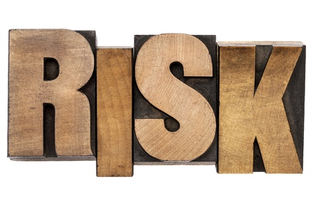 printing block block: risk - isolated word in vintage letterpress wood type