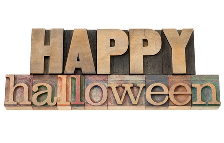 Happy Halloween - isolated text in vintage letterpress wood type Stock Photo - 15279910
