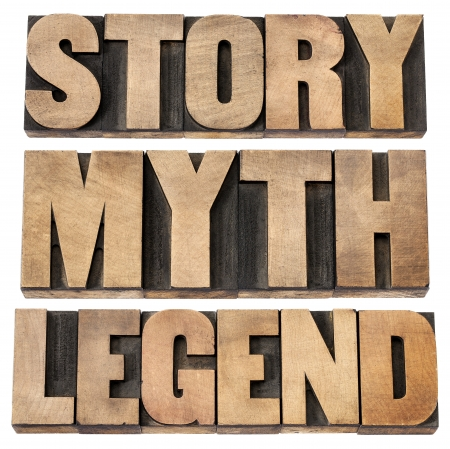 story, myth, legend - storytelling concept -  isolated words in vintage letterpress wood type Stock Photo - 15279904