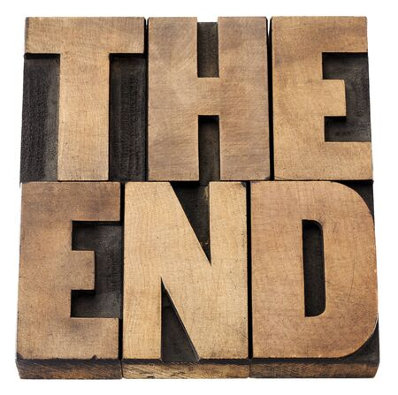 the end - isolated text in vintage letterpress wood type Stock Photo - 15279902