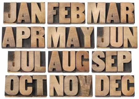 12 months from January to December - a collage of isolated 3 letter symbols in vintage letterpress wood type blocks Banque d'images