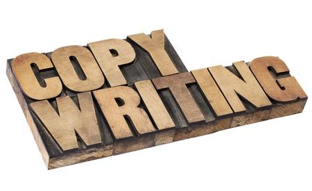 copywriting - geïsoleerde woord in vintage boekdruk hout type