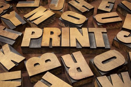 print concept in vintage letterpress wood printing blocks Stock Photo - 15523394