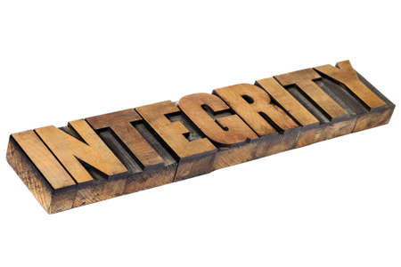 integrity - isolated word in vintage letterpress wood type Stock Photo - 15416360