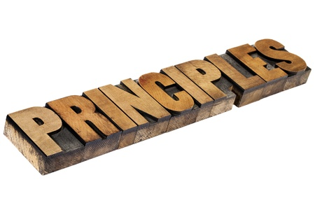 principles - isolated word in vintage letterpress wood type Stock Photo - 15416358