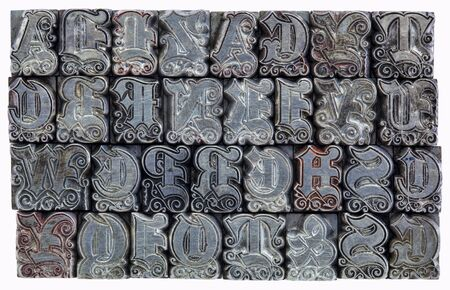 letterpress letters: random alphabet letters in decorative metal letterpress type - initials font - stained by color inks