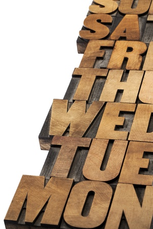 days of week abstract - isolated text in vintage letterpress wood type printing blocks Stock Photo
