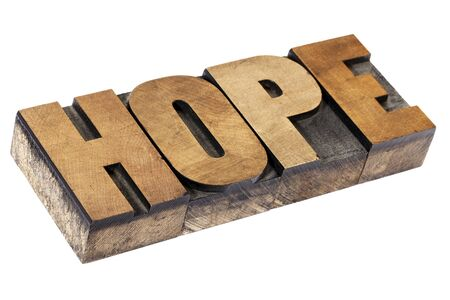 hope word - isolated text in vintage letterpress wood type printing blocks Stock Photo - 15476526
