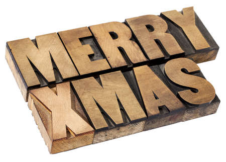 Merry Christmas  (Xmas) - isolated text in vintage letterpress wood type Stock Photo - 15654931