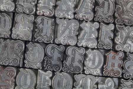 random alphabet letters in ornamental metal letterpress type - initials font Stock Photo - 15654937