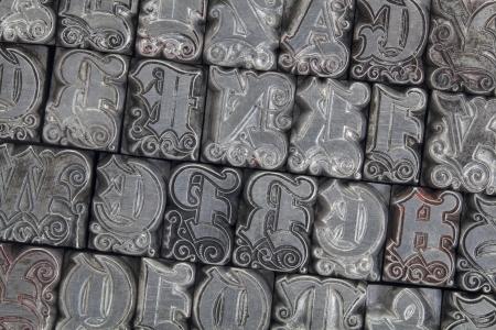 letterpress letters: random alphabet letters in ornamental metal letterpress type - initials font