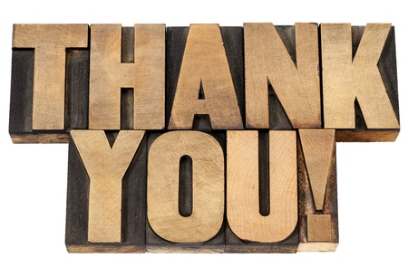 thank you  exclamation - isolated text in vintage letterpress wood type photo