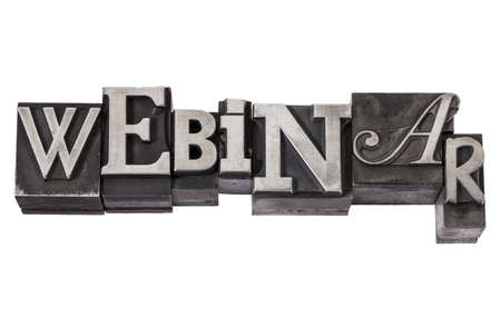 webinar (web-based seminar or lecture) - isolated word in vintage letterpress metal type, mixed fonts Stock Photo - 15654938