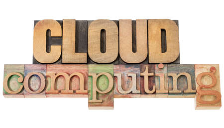 cloud computing - technology concept - isolated text in vintage letterpress wood type Stock Photo - 15735716