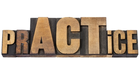 prACTice  -  isolated word in vintage letterpress wood type with over sized letters ACT Stock Photo - 15735715