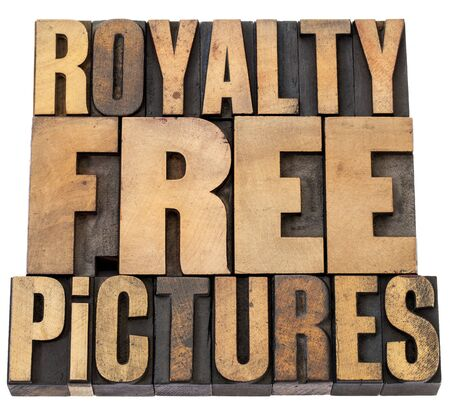 printing block block: royalty free pictures - isolated words in vintage letterpress wood type Stock Photo