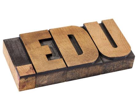 edu: dot edu internet domain  - network address  for education - isolated text in vintage letterpress wood type