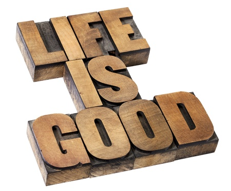 positivity: life is good - positivity concept - isolated text in vintage letterpress wood type
