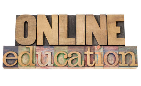 online education - isolated text in vintage letterpress wood type Stock Photo - 15776595