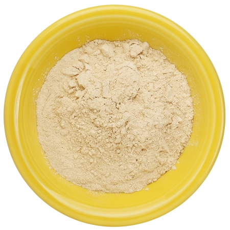 maca root powder (nutrition supplement - superfood from Andies) in a small ceramic bowl Stock Photo - 15887237