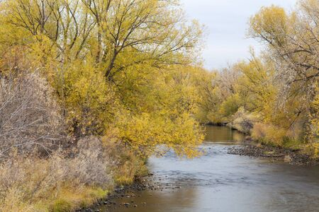 Cache la Poudre River in Fort Collins, Colorado, late fall scenery Stock Photo - 15934818