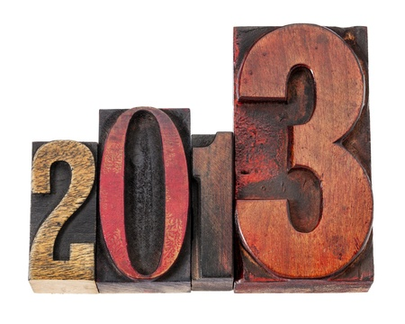 year 2013  - isolated text in vintage letterpress wood type, mixed fonts Stock Photo